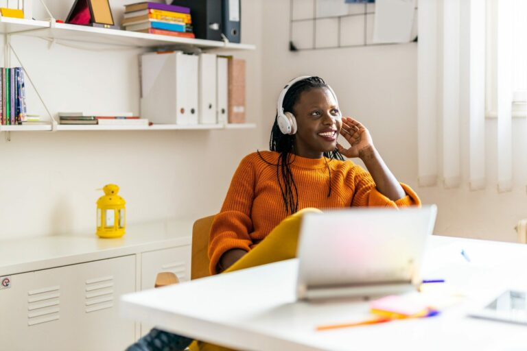 Businesswoman working in a start-up office